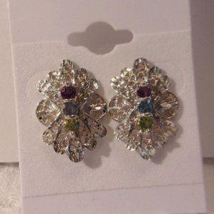 Avon Sterling Silver Filigree Gem Stone Earrings